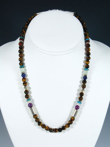 "18"" Tiger Eye Single Strand Choker Bead Necklace"
