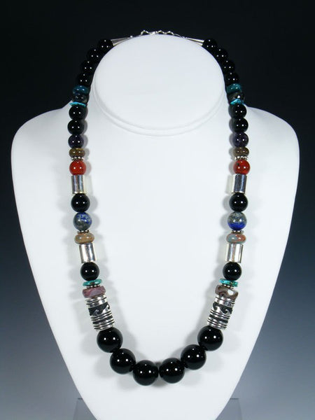 "Navajo Black Onyx 21"" Single Strand Bead Necklace"