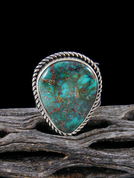 Adjustable Natural Royston Turquoise Ring, Size 8 1/2 - 10
