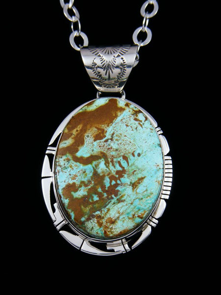 Native American Indian Jewelry Emerald Valley Turquoise Pendant