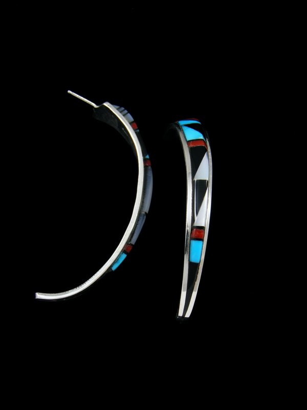 Zuni Inlay Sterling Silver Turquoise Post Earrings