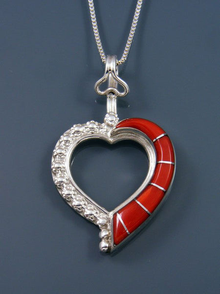 Navajo Sterling Silver Coral Heart Pendant