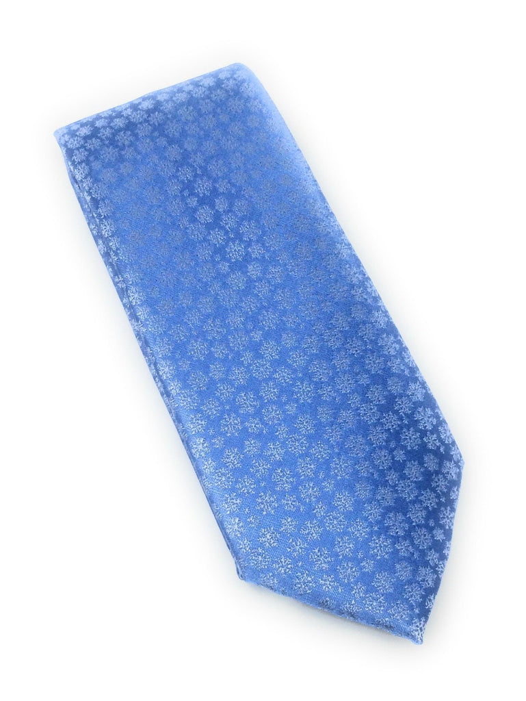 Sky Blue Abstract Silk Tie With Matching Pocket Square