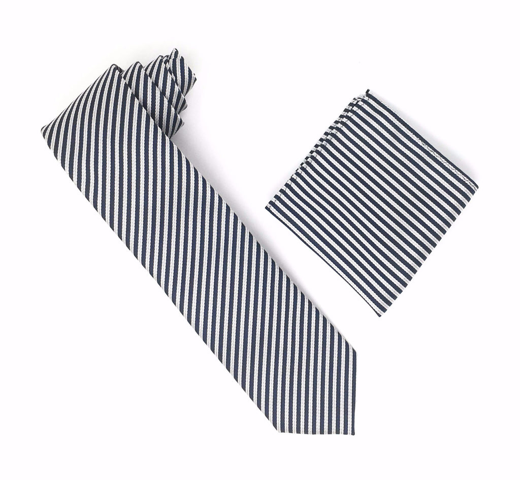 Grey and Silver Striped Silk Tie With Matching Pocket Square