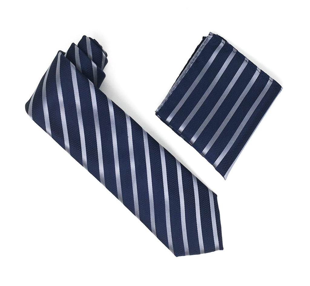 Navy & Grey Stripped Extra Long Silk Tie With Matching Pocket Square