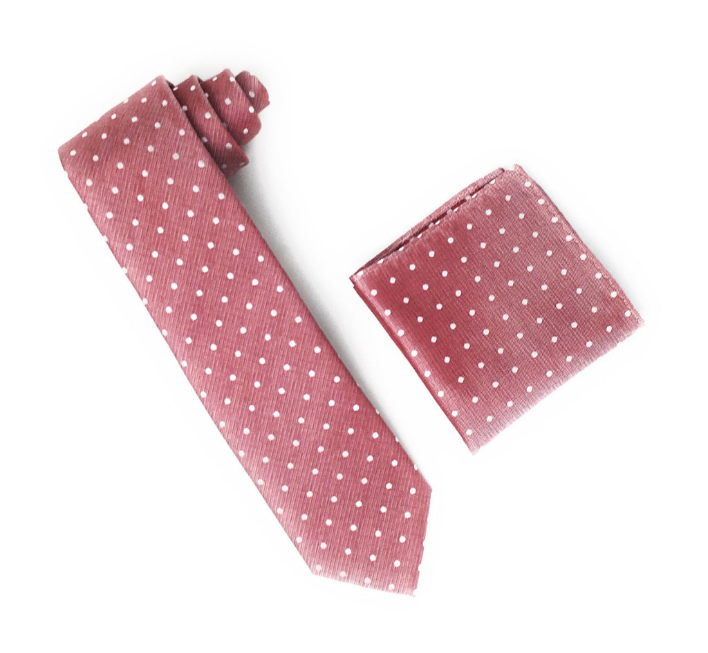 Light Burgundy With Silver Dotted Designed Extra Long Silk Tie With Matching Pocket Square