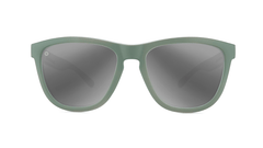 Sunglasses with Battleship Frames and Polarized Silver Smoke Lenses, Front
