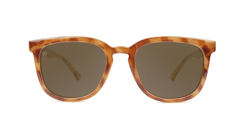Sunglasses with Blonde Tortoise Frames and Polarized Amber Lenses, Back