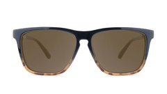 Sunglasses with Black and Blonde Tortoise Shell Fade Frames and Polarized Amber Lenses, Front