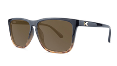 Sunglasses with Black and Blonde Tortoise Shell Fade Frames and Polarized Amber Lenses, Threequarter