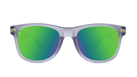 Fort Knocks Sunglasses with Frosted Grey Frames and Green Moonshine Mirrored Lenses, Back