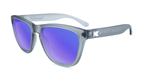 Premiums Sunglasses with Frosted Grey Frames and Blue Moonshine Mirrored Lenses, Flyover