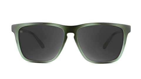 Sunglasses with Jade Lagoon Frames and Polarized Smoke Lenses, Back