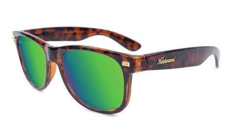 Sunglasses with Tortoise Shell Frame and Polarized Green Moonshine Lenses. Flyover