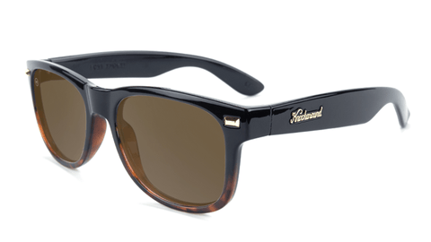 Sunglasses with Black and Tortoise Shell Fade Frames, and Polarized Amber Lenses, Flyover