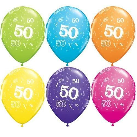 "Latex 11"" Age 50 Asst. Colour Latex 11"" Balloons 6pk"
