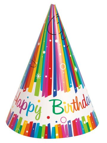 Rainbow Ribbons Happy Birthday Party Hats 8ct