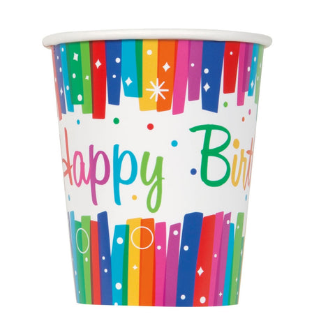 Rainbow Ribbons Party Paper Cups 8ct
