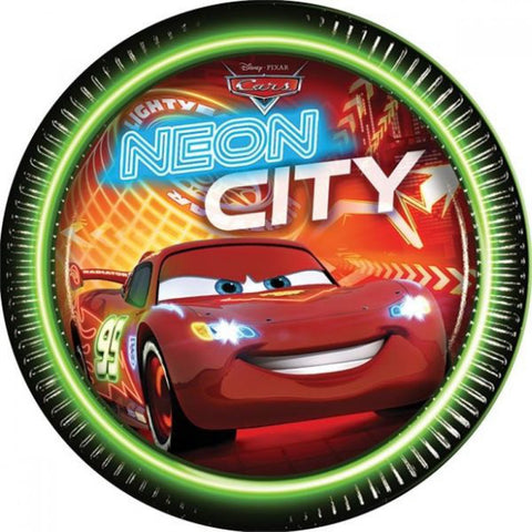 Disney Cars Neon Party Paper Plates 8ct