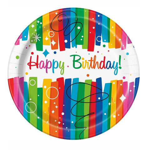 Rainbow Ribbons Party Paper Plates 8ct