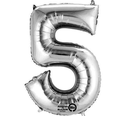 "Silver Number 5 Balloon - 16"" Foil"