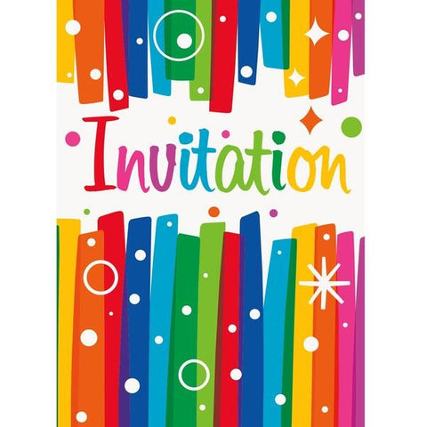 Rainbow Ribbons Party Invitations & Envelopes 6ct
