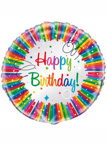 "Rainbow Ribbons Happy Birthday 18"" Foil Balloon"