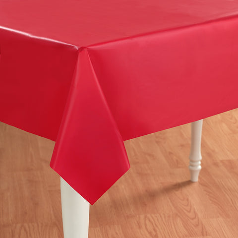 Red Plastic Tablecover - 54 inch x 108 inch