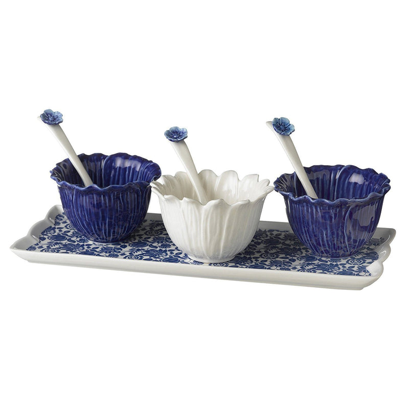 Grasslands Road American Bloom Ceramic Tray with 3 Dipping Bowls and Spoons