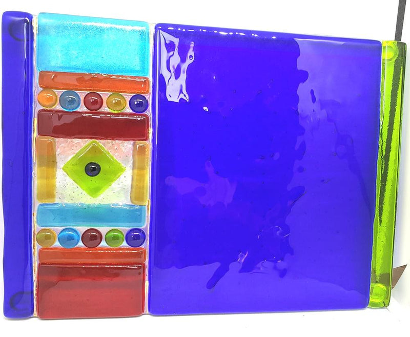 ME2U Carnival Fused Glass Cheese Tray with Spreader, Choice of Color