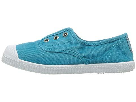 Cienta 70777 Distressed Turquoise Canvas Laceless Sneaker