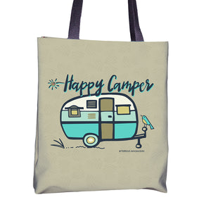 Tote bag with Happy Camper vintage, Aqua, Sunny & Clear by Teresa Magnuson