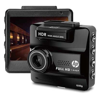 "HP F550g Car Dash Cam GPS Full HD 1440p 156° Angel 2.3""lcd Camera WDR Black"