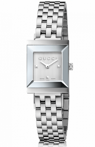 Gucci G-Frame Ladies 19mm Square ribbed silver Dial With Silver Stainless Steel Strap Watch - YA128402