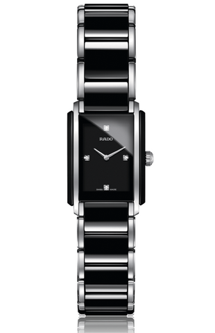 Rado Integral Women's High Tech Ceramic & Stainless Steel Diamond Rectangular Black/Silver Watch with Bi-Material Strap - R20613712
