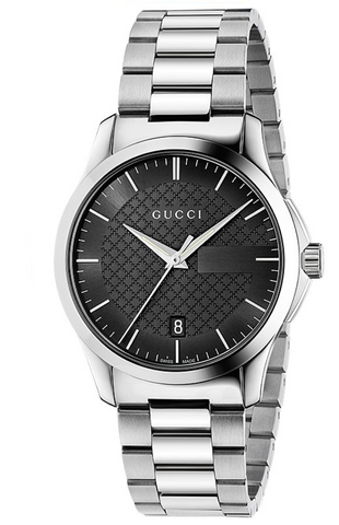 Gucci G-Timeless Men's 38mm Black Dial With Silver Bracelet Strap Watch - YA126457