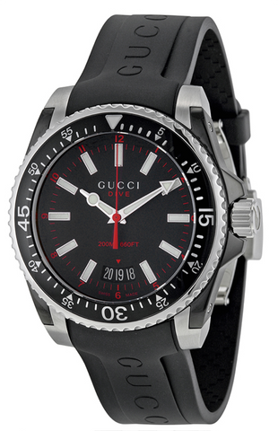 Gucci Dive Men's/Unisex 40mm Black Dial With Black Rubber Strap Watch - YA136303