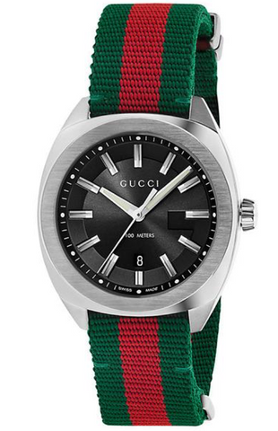Gucci GG2570 Men's 40mm Black Dial With Red & Green Fabric Strap Watch - YA142305