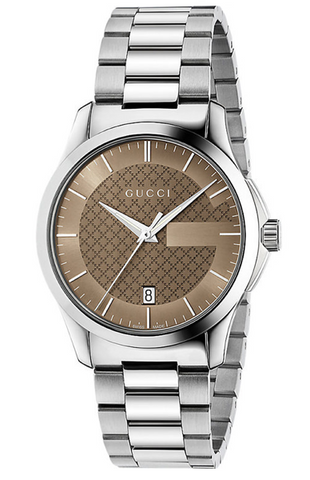 Gucci G-Timeless Men's 38mm Brown Dial Stainless Steel Bracelet Watch YA126445