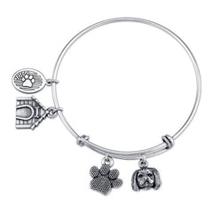 Shih Tzu - Trimmed Male Charm Bangle Bracelet