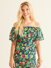 Mila Off the Shoulder Top in the Sumatra Print