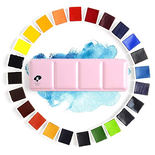 24 Colors Paul Rubens Watercolor Paint Artist Grade Solid Cakes Travel Pocket Set Painting Paint with Metal Box Case
