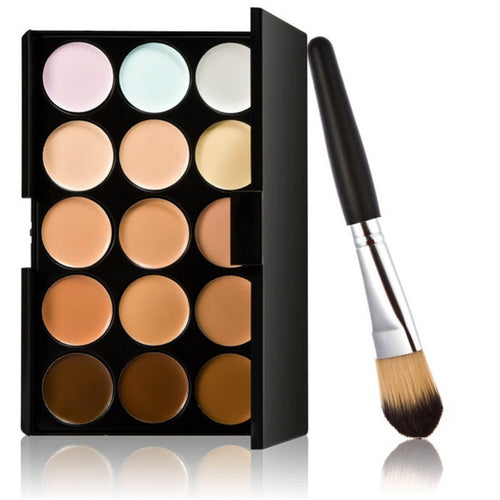 15 Colors Face Cream Contour Makeup Concealer Palette Powder Brush Makeup Set Cosmetic Tools - Shopatronics - One Stop Shop. Find the Best Selling Products Online Today