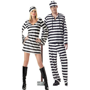 Direct Selling Hot Sale Halloween Laides Black And White Stripe Bloody Convict Zombie Prisoner Costume - Shopatronics