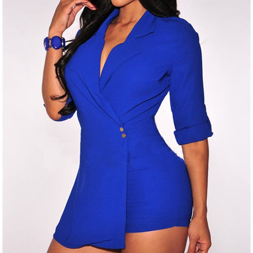 Hot Miami Styles Black And Blue Trench Romper  Women Jumpsuit - Shopatronics
