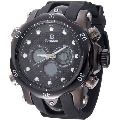Fashion Black Men's Quartz & LED Electronics Dual Time Display Wrist Watch Silicone Sport Wristwatch - Shopatronics