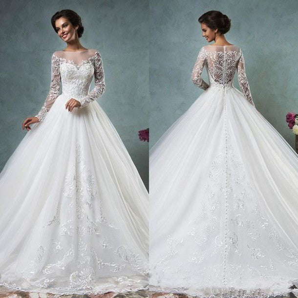 Ball Gown Wedding Dresses Scoop Neck Long Sleeve Button Sweep Train Tulle and Lace Bridal Gown Dress - Shopatronics - One Stop Shop. Find the Best Selling Products Online Today