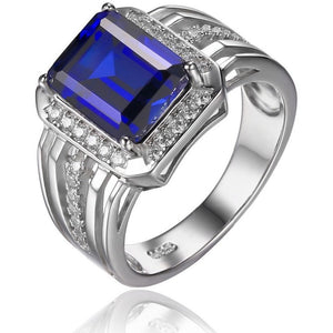 Gem Stone Jewelry Blue Sapphire Wedding Engagement Ring Set For Men Genuine 925 Solid Sterling Sliver 2016 Brand New Luxury - Shopatronics