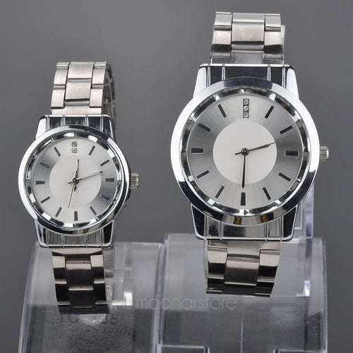Hot selling new Lovers Quartz watches Silver Watch Steel Band Women dress Watches Rhinestone relogio for couples - Shopatronics