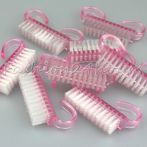 New 10pcs/pack Pink Plastic Nail Art Dust Clean Brush Manicure Pedicure Tool - Shopatronics